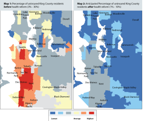 "Where the uninsured are in King County: Maps showing ""hot zones"" of uninsured residents -- before and after health reform."