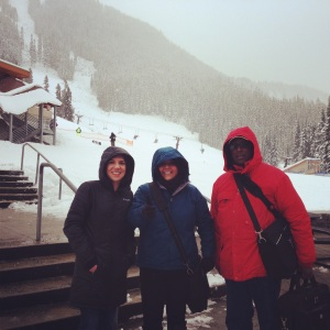 Bundled up IPAs at Stevens Pass